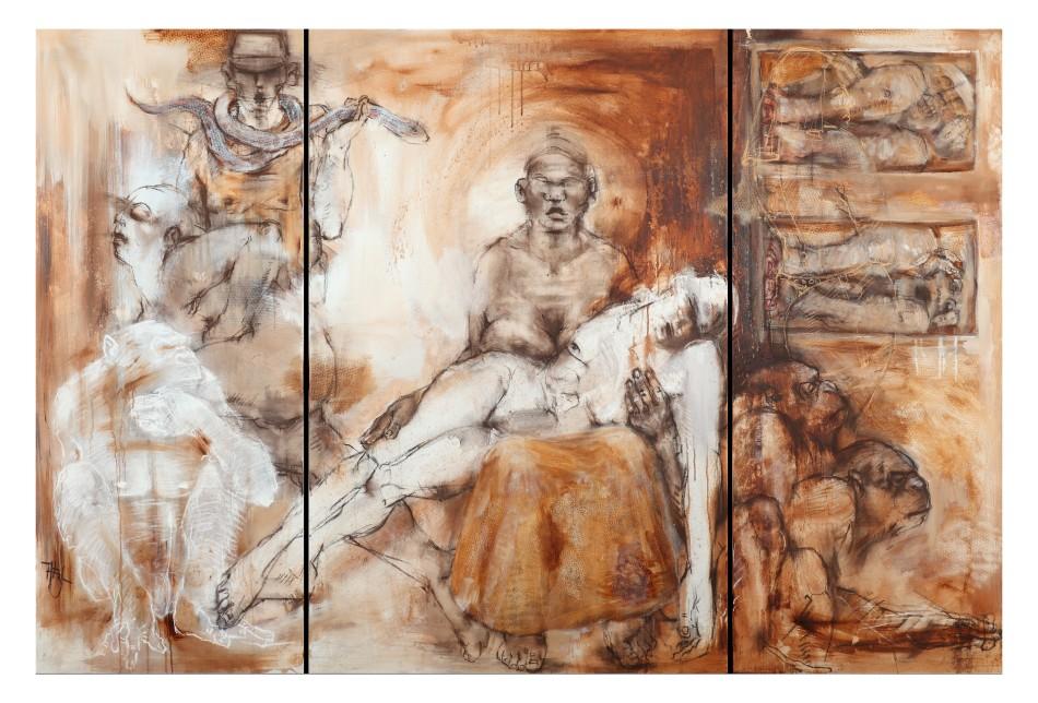 Passion III pietà- Acryl/Pasrell auf Lwd, 155x230 cm