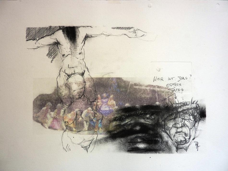 prozession 1 -Mischtechnik auf Papier, Blatt 50x70 cm