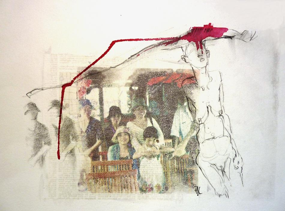 prozession 3 - MIschtechnik auf Papier, Blatt 50x70 cm