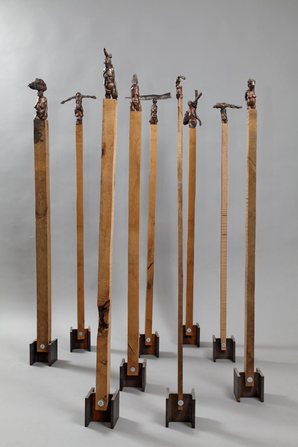 prozession 9-teilig - Bronze,/Eiche/Stahl, h ca.120cm