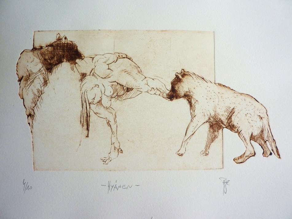 ausschnitte: Hyänen - Radierung, 30x40cm
