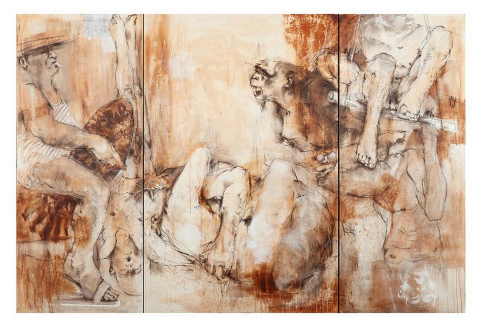 passion II Artisten - Pastell,/Acryl auf Lwd., 155x230 cm