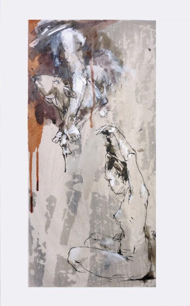 im bad - Mischtechnik auf Papier, Blatt 70x50 cm