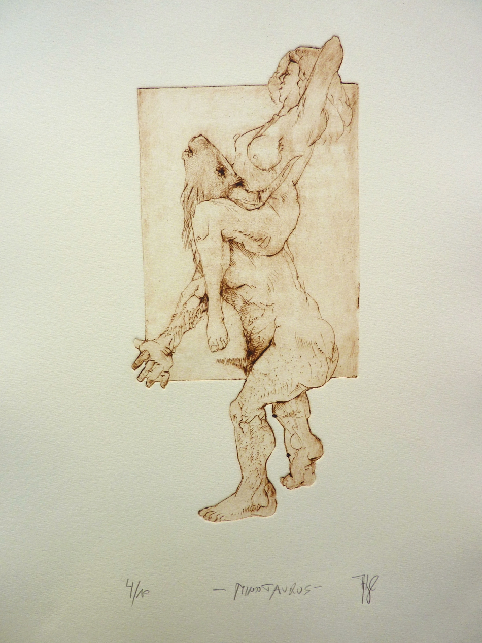 ausschnitte: Minotaurus - Radierung, 40x30cm