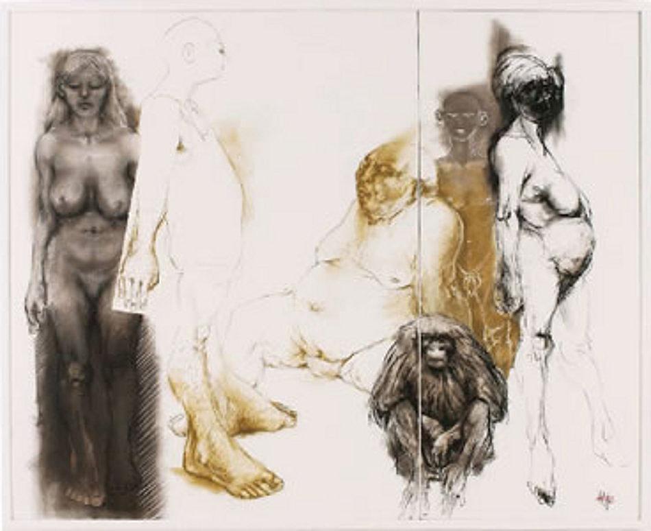 1.Artistenfamilie-Pastell auf Lwd. 185x150cm