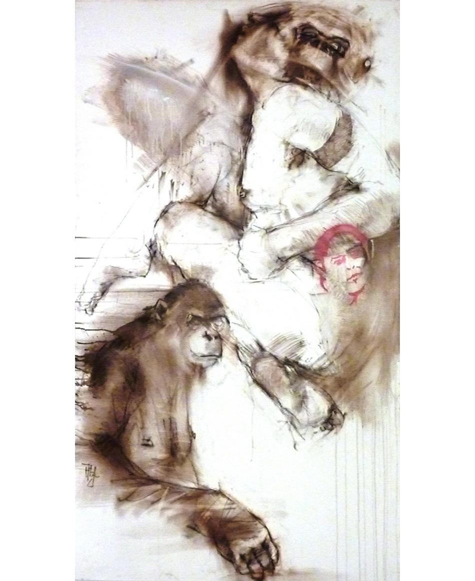 11.1.triumph des zeichners MIschtechnik auf Lwd. 130x60 cm mit rahmen