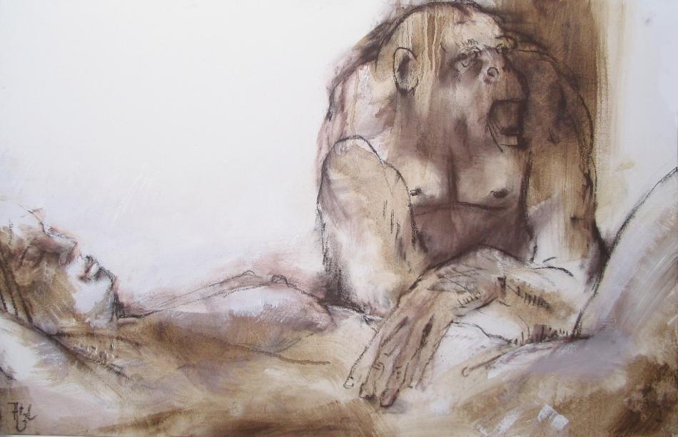 11.Eifersucht- PAstell,Acryl auf Lwd. 120x60cm