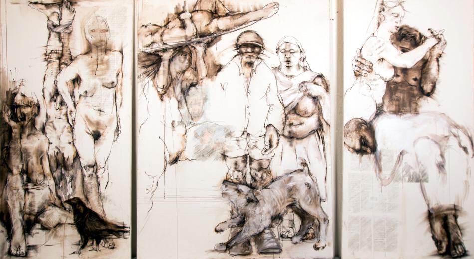 rabe hund affe - Triptychon 160x280cm